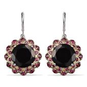 Australian Black Tourmaline, Mahenge Pink Spinel 14K YG and Platinum Over Sterling Silver Lever Back Earrings TGW 23.880 cts.