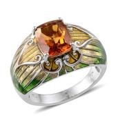 Santa Ana Madeira Citrine, Green and Yellow Enameled Platinum Over Sterling Silver Ring (Size 8) TGW 2.750 cts.