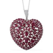 Niassa Ruby, Ruby Platinum Over Sterling Silver Heart Pendant With Chain (20 in) TGW 9.83 Cts.