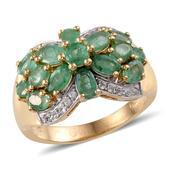 Kagem Zambian Emerald, White Topaz 14K YG Over Sterling Silver Ring (Size 5.0) TGW 3.510 cts.