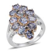 Bondi Blue Tanzanite Sterling Silver Split Ring (Size 6.0) TGW 4.250 cts.