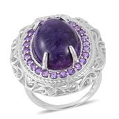 Siberian Charoite, Amethyst Sterling Silver Ring (Size 8.0) TGW 10.350 cts.