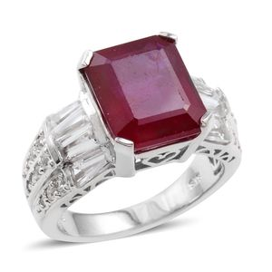 Niassa Ruby, White Topaz Sterling Silver Bold Ring (Size 7.0) TGW 12.490 cts.