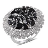 Thai Black Spinel, White Topaz Ring in Platinum Overlay Sterling Silver Nickel Free (Size 11) TGW 11.13 Cts.