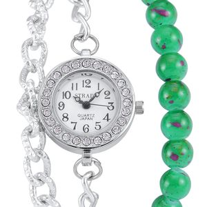 STRADA Austrian Crystal Japanese Movement Green Beaded Watch Bracelet with Stainless Steel Back (7-9 In)