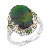Canadian Ammolite, Russian Diopside 14K YG and Platinum Over Sterling Silver Ring (Size 8.0) TGW 6.720 cts.