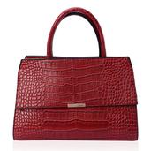 J Francis - Red Faux Leather Handbag (14x6x10 in)