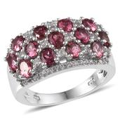 Ouro Fino Rubellite, White Topaz Platinum Over Sterling Silver Ring (Size 8.0) TGW 3.680 cts.