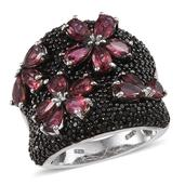 Ouro Fino Rubellite, Thai Black Spinel Platinum Over Sterling Silver Ring (Size 6.0) TGW 5.525 cts.