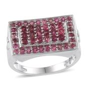 Ouro Fino Rubellite Platinum Over Sterling Silver Men's Ring (Size 12.0) . TGW 3.000 cts.