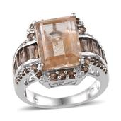 Aurelia Rutilated Quartz (Oct 7.85 Ct), Brazilian Smoky Quartz Ring in Platinum Overlay Sterling Silver Nickel Free (Size 6.0) TGW 9.87 Cts.