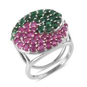 Niassa Ruby, Sakota Emerald Platinum Over Sterling Silver Ring (Size 9.0) TGW 6.980 cts.