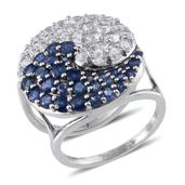 Set of 2 Kanchanaburi Blue Sapphire, White Topaz Platinum Over Sterling Silver Yin Yang Stackable Rings (Size 6.0) TGW 6.02 cts.