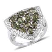 Bohemian Moldavite, Diamond Platinum Over Sterling Silver Ring (Size 7.0) TDiaWt 0.01 cts, TGW 3.310 cts.