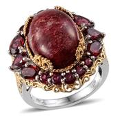 Norwegian Thulite, Orissa Rhodolite Garnet 14K YG and Platinum Over Sterling Silver Ring (Size 6.0) TGW 20.234 cts.