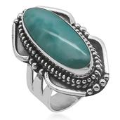 Bali Legacy Collection Larimar (Ovl) Ring in Sterling Silver Nickel Free (Size 11) TGW 5.87 Cts.
