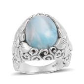Bali Legacy Collection Larimar Sterling Silver Ring (Size 7.5) TGW 9.580 cts.