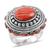 Santa Fe Style Spiny Oyster Shell Sterling Silver Red Hand Beaded Ring (Size 7.5)