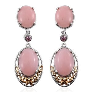 Peruvian Pink Opal, Madagascar Pink Sapphire 14K YG and Platinum Over Sterling Silver Dangle Earrings TGW 16.30 cts.
