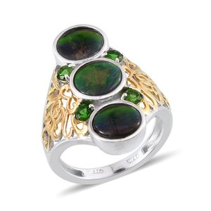 Canadian Ammolite, Russian Diopside 14K YG and Platinum Over Sterling Silver Openwork Elongated Ring (Size 7.0) TGW 4.98 cts.