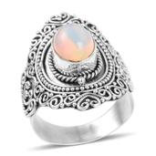 Bali Legacy Collection Ethiopian Welo Opal Sterling Silver Swirl Filigree Ring (Size 7.5) TGW 1.170 cts.