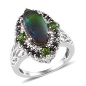 Canadian Ammolite, Russian Diopside, Thai Black Spinel Platinum Over Sterling Silver Ring (Size 7.0) TGW 5.000 cts.