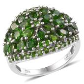 Russian Diopside Platinum Over Sterling Silver Ring (Size 7.0) TGW 6.48 cts.