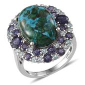 Australian Chrysocolla, Catalina Iolite, Madagascar Paraiba Apatite Platinum Over Sterling Silver Ring (Size 8.0) TGW 16.340 cts.
