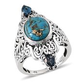 Royal Jaipur Mojave Blue Turquoise (Ovl), London Blue Topaz, Ruby Ring in Platinum Overlay Sterling Silver Nickel Free (Size 10) TGW 5.10 Cts.