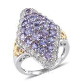 Tanzanite, White Topaz 14K YG and Platinum Over Sterling Silver Ring (Size 7.0) TGW 3.520 cts.
