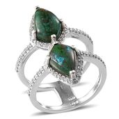 Australian Chrysocolla, White Zircon Platinum Over Sterling Silver Ring (Size 7.0) TGW 7.960 cts.
