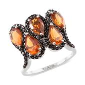 Santa Ana Madeira Citrine, Thai Black Spinel Platinum Over Sterling Silver Ring (Size 7.0) TGW 4.500 cts.