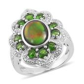 Canadian Ammolite, Russian Diopside, White Topaz Sterling Silver Ring (Size 7.0) TGW 3.605 cts.