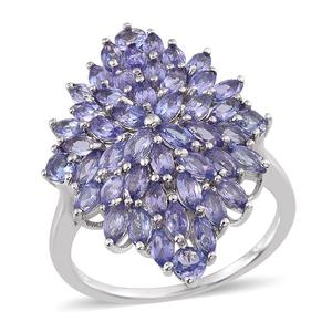 Tanzanite Platinum Over Sterling Silver Cluster Ring (Size 6.0) TGW 4.40 cts.