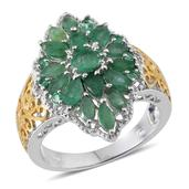 Kagem Zambian Emerald 14K YG and Platinum Over Sterling Silver Ring (Size 6.0) TGW 3.130 cts.