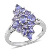 Tanzanite Platinum Over Sterling Silver Ring (Size 8.0) TGW 2.430 cts.