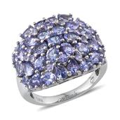Tanzanite Platinum Over Sterling Silver Ring (Size 9.0) TGW 6.230 cts.