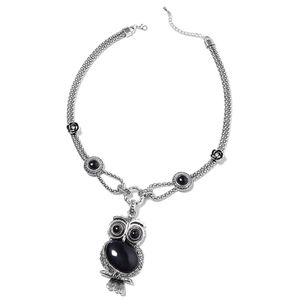 Creature Couture - Black Agate, White Austrian Crystal Silvertone Owl Necklace (22-24 in) TGW 105.00 cts.