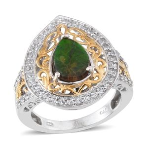 Canadian Ammolite, White Topaz 14K YG and Platinum Over Sterling Silver Ring (Size 7.0) TGW 3.15 cts.