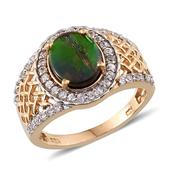 Canadian Ammolite, White Zircon 14K YG Over Sterling Silver Ring (Size 6.0) TGW 2.960 cts.