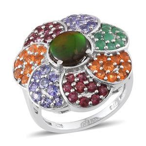 Canadian Ammolite, Kagem Zambian Emerald, Jalisco Fire Opal, Orissa Rhodolite Garnet, Tanzanite Platinum Over Sterling Silver Ring (Size 7.0) TGW 5.000 cts.