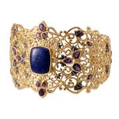 Royal Jaipur Lapis Lazuli, Lusaka Amethyst, Ruby 14K YG Over Sterling Silver Cuff (7.5 in) TGW 26.69 Cts.