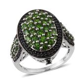 Russian Diopside, Thai Black Spinel Platinum Over Sterling Silver Ring (Size 7.0) TGW 3.825 cts.