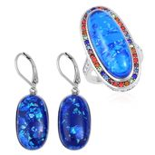 TLV Lab Created Blue Opal, Multi Color Austrian Crystal Stainless Steel Halo Ring (Size 9) and Lever Back Earrings TGW 23.00 cts.