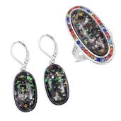 TLV Lab Created Black Opal, Multi Color Austrian Crystal Halo Ring (Size 8) and Lever Back Earrings in Stainless Steel TGW 23.00 cts.