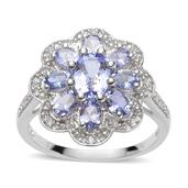 Tanzanite, White Topaz Sterling Silver Ring (Size 8.0) TGW 2.253 cts.