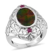 Canadian Ammolite, Ruby Vibrant Platinum Over Sterling Silver Shank Ring (Size 8.0) TGW 4.150 cts.