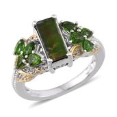 Canadian Ammolite, Russian Diopside, White Topaz 14K YG and Platinum Over Sterling Silver Ring (Size 7.0) TGW 3.570 cts.