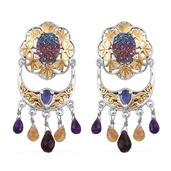 Royal Jaipur Rainbow Drusy Quartz, Multi Gemstone 14K YG and Platinum Over Sterling Silver Earrings TGW 14.07 Cts.