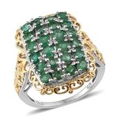 Kagem Zambian Emerald 14K YG and Platinum Over Sterling Silver Ring (Size 7.0) TGW 2.910 cts.